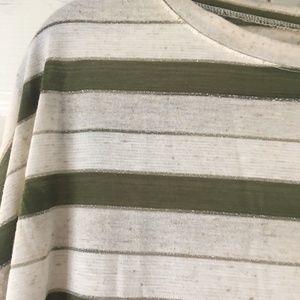 Agnes & Dora Tops - Boxy Tee - Olive Oatmeal Metallic Stripe Jersey